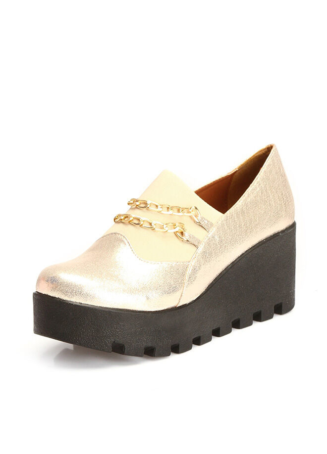 Pembe Potin Dolgu Topuklu Ayakkabı