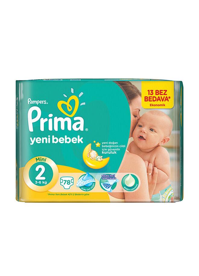 Prima Yeni Bebek 2 Beden Mini Ekonomik Paket 78 Adet
