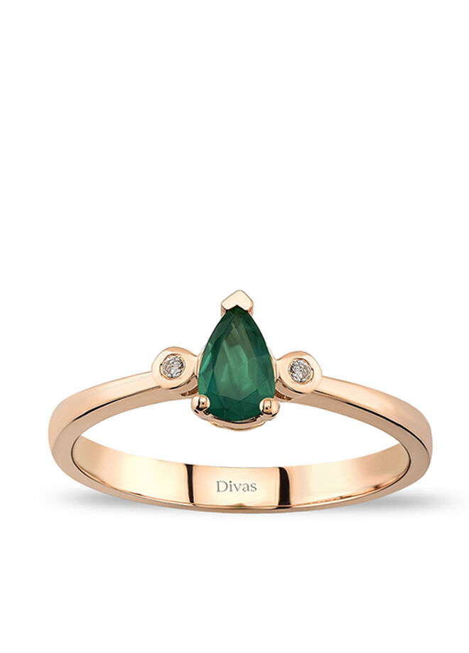 Divas Diamond Pırlanta Damla Altın Zümrüt Yüzük
