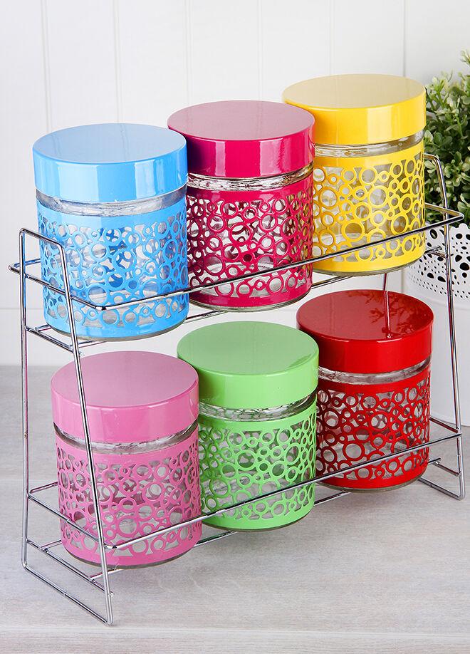 Queen's kitchen Cam Üzeri Çelik Giydirmeli 6'lı Renkli Baharatlık - C-CMS-211ATP