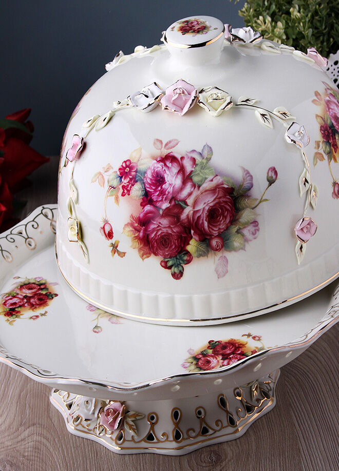 Hera Concept Hera Rose Porselen Kapaklı Kek Fanusu