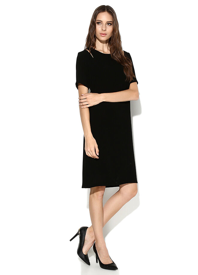 Laranor Omuz Detaylı Klasik Kesim Astarlı Elbise