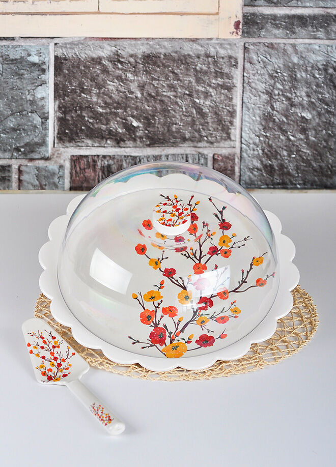 Keramika Set Fanus Kek Tomurcuk Kırmızı Melamın