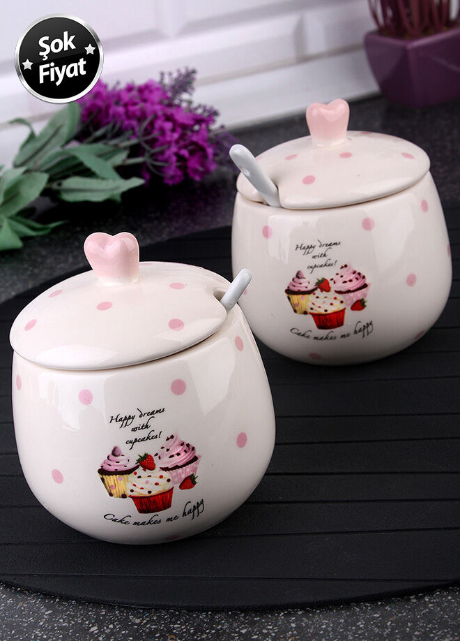 Queen's kitchen Porselen Cupcake Dekorlu 2 Adet Kaşıklı Şekerlik - C-Cup-0014017/48X2AD