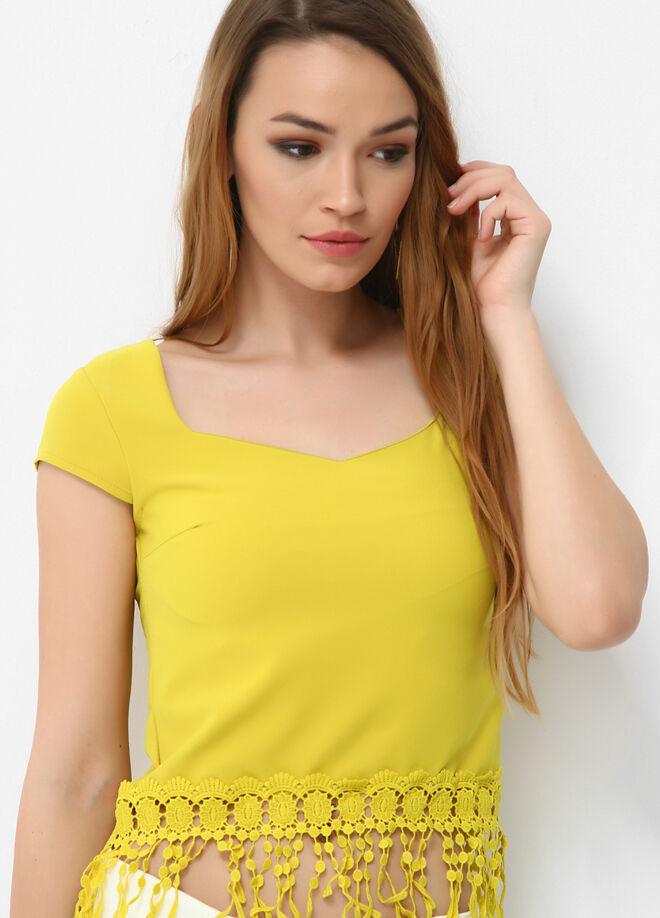 Miss Selen's Dantel püsküllü bluz