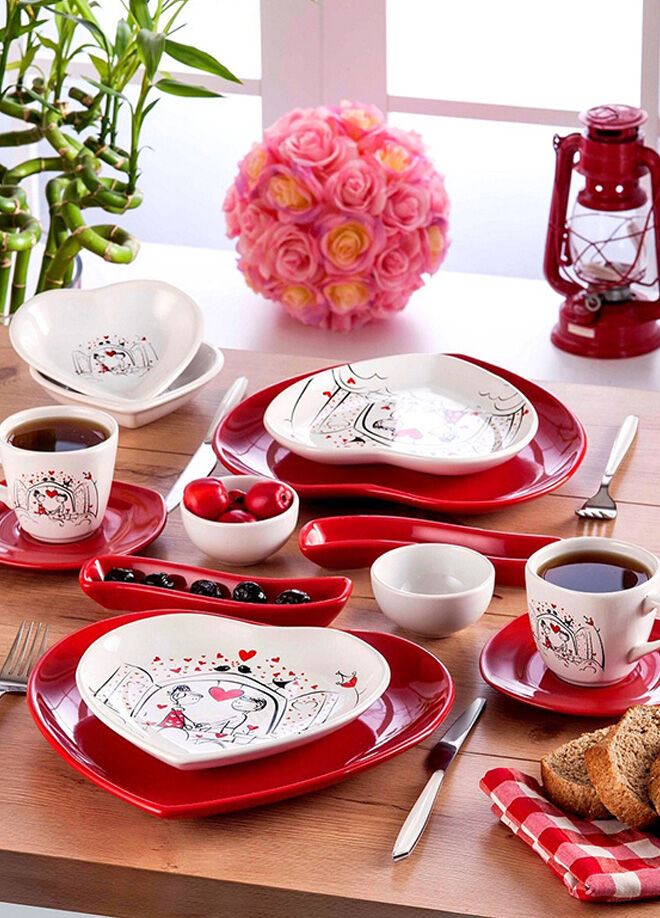 Keramika Set Kalp Kahvaltı 14 Parca Beyaz004-Kırmızı 506 Keyfı Ask Serısı A