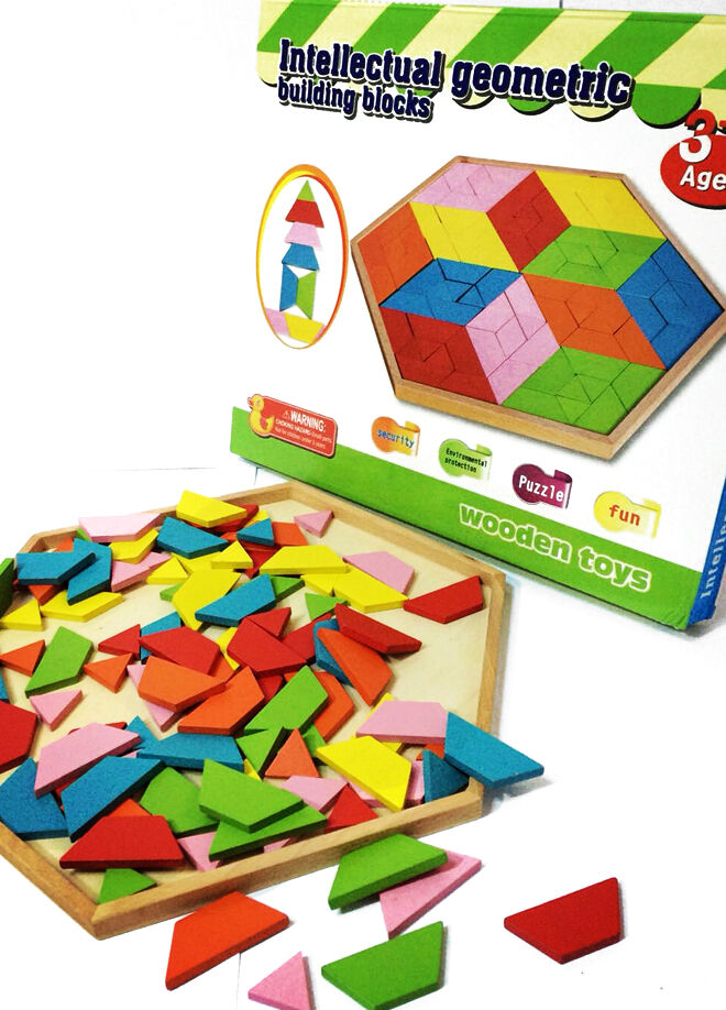 Eğitici Ahşap Oyuncaklar Ahşap Altıgen Tangram