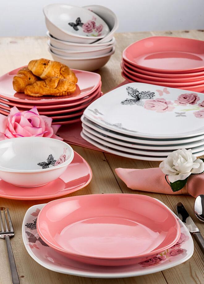 Keramika Takım Yemek Kosem 24 Parca Beyaz 004-Pembe 550 Gul Trend A