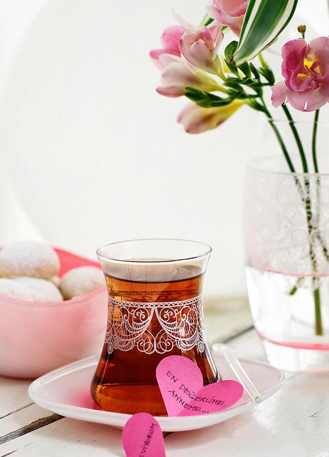 LAV 6'lı Çay Seti Tatlı Hatıralar Dantela Pembe Lv-Dantelapmbs1