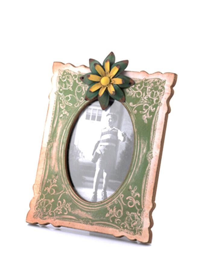 Porio Yeşil-Sarı Çiçek Detaylı Masa Çerçevesi 29x21 cm