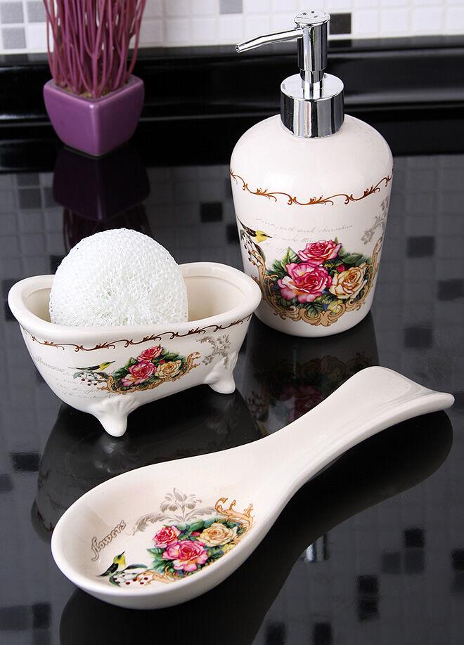 Queen's kitchen Bird & Flower Serisi Sıvı Sabunluk Süngerlik Ve Yatay Kaşıklık Mutfak Set - C-CC4010