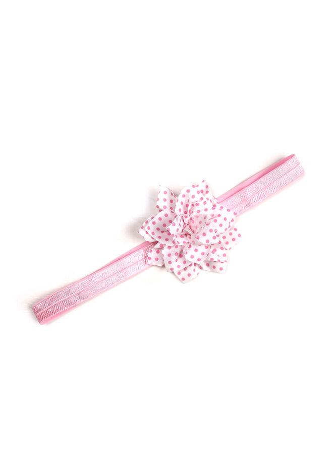 Miyam Saç Bandı Pembe Pembe Puantiye Çiçekli