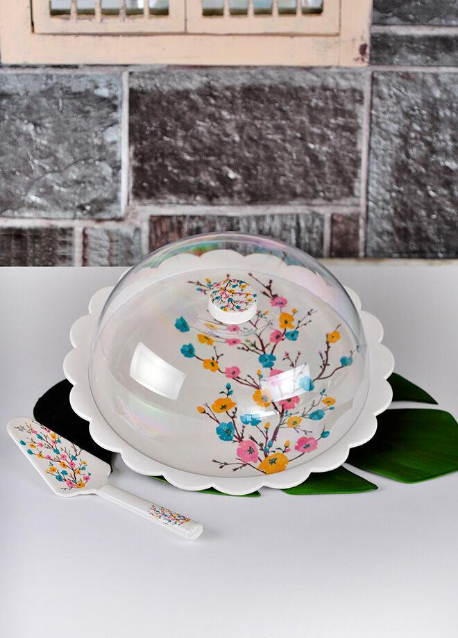 Keramika Set Fanus Kek Tomurcuk Mavı Melamın