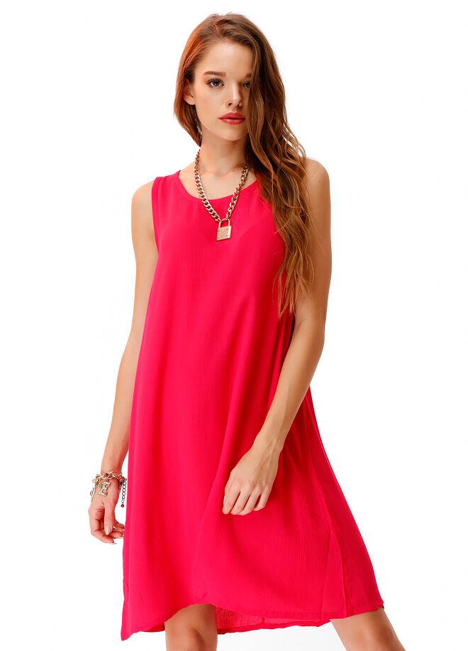 Ola Sırtı Düğme Detaylı Elbise