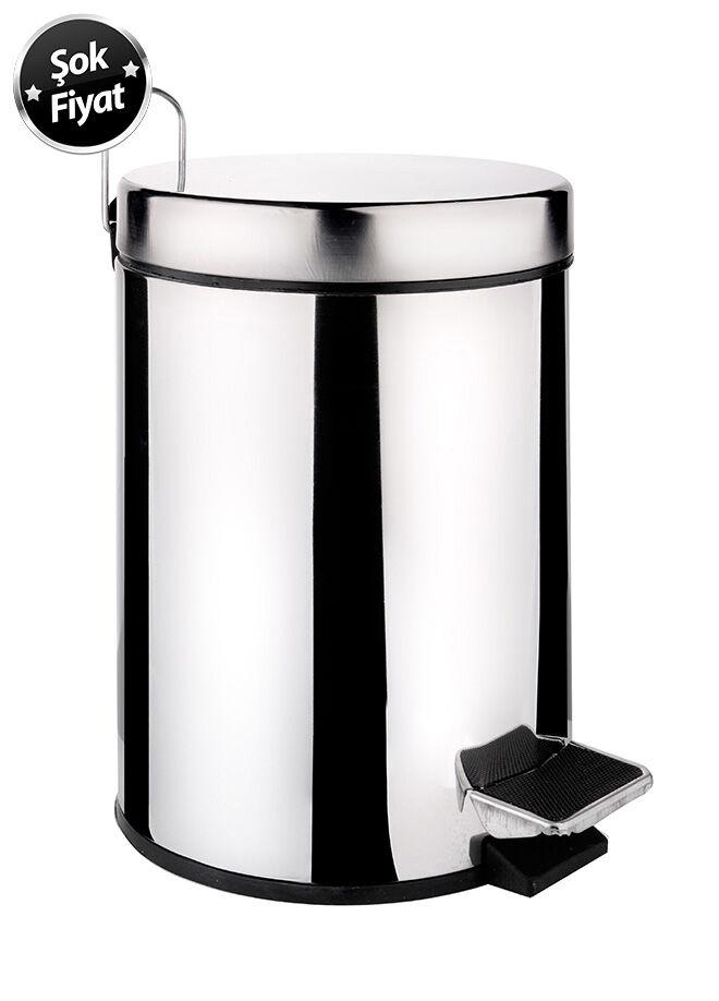 Queen's kitchen Paslanmaz Metal 5 lt Pedallı Çöp Kovası - C-5 lt