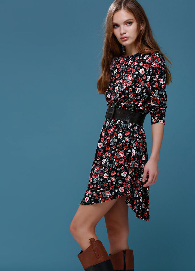 Ola Çiçek Desenli Tunik Elbise