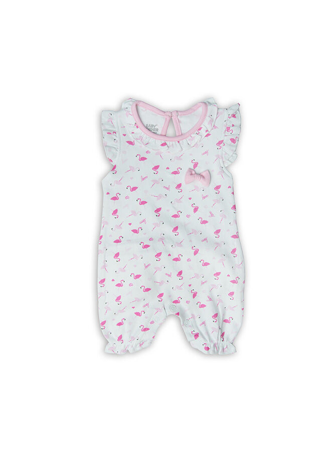 Baby Corner Flamingo Desenli Fırfırlı Kısa Tulum-Beyaz Pembe