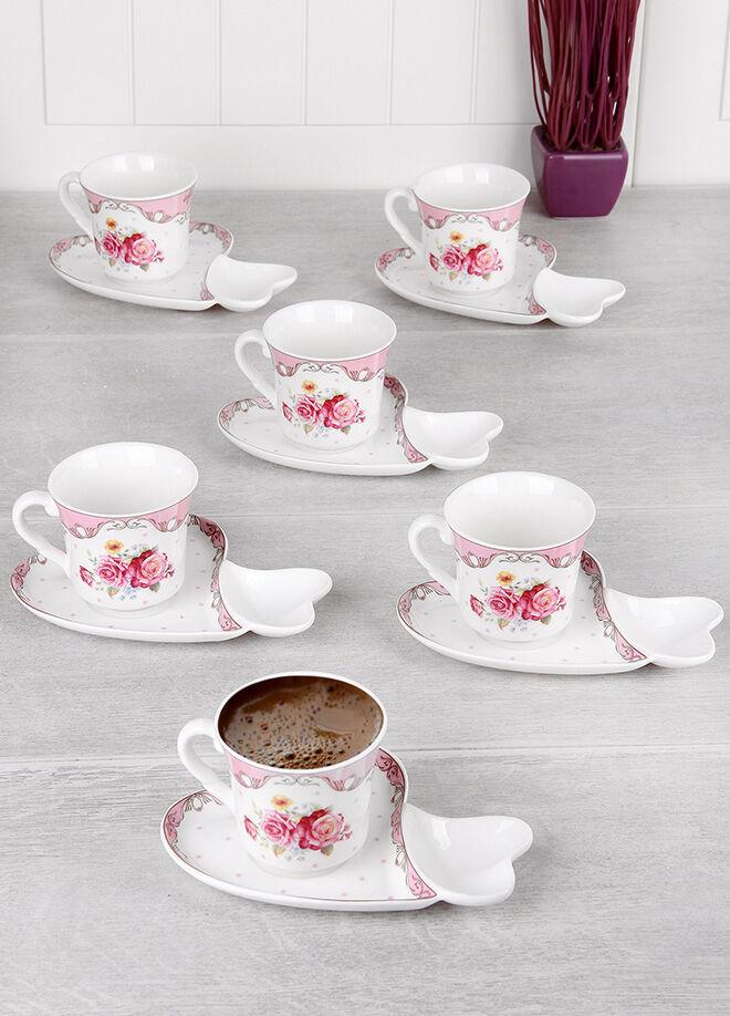 Queen's kitchen 6 Kişilik Porselen Lüx Kalp Lokumluklu Kahve Takımı