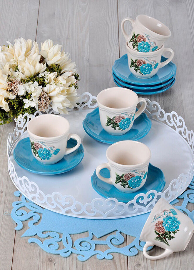 Keramika 6 Kısılık 12 Parca Kera Nescafe / Cay Takımı Turkuaz Gul