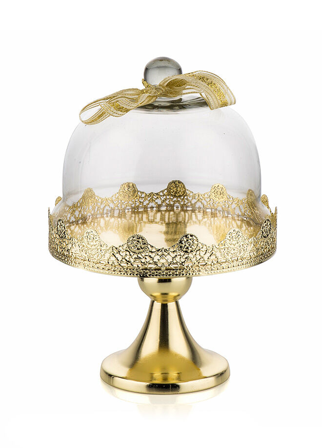 Porio Altın Küçük Boy Ayaklı Kek Fanus 18x18 cm