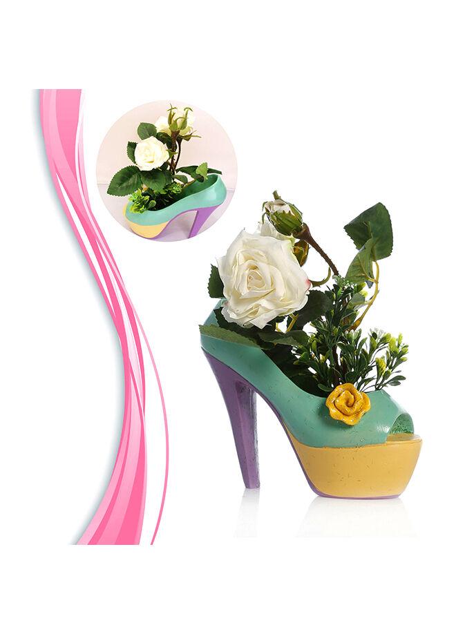 Practika Topuklu Ayakkabı Tasarımlı Saksı Beyaz Gül