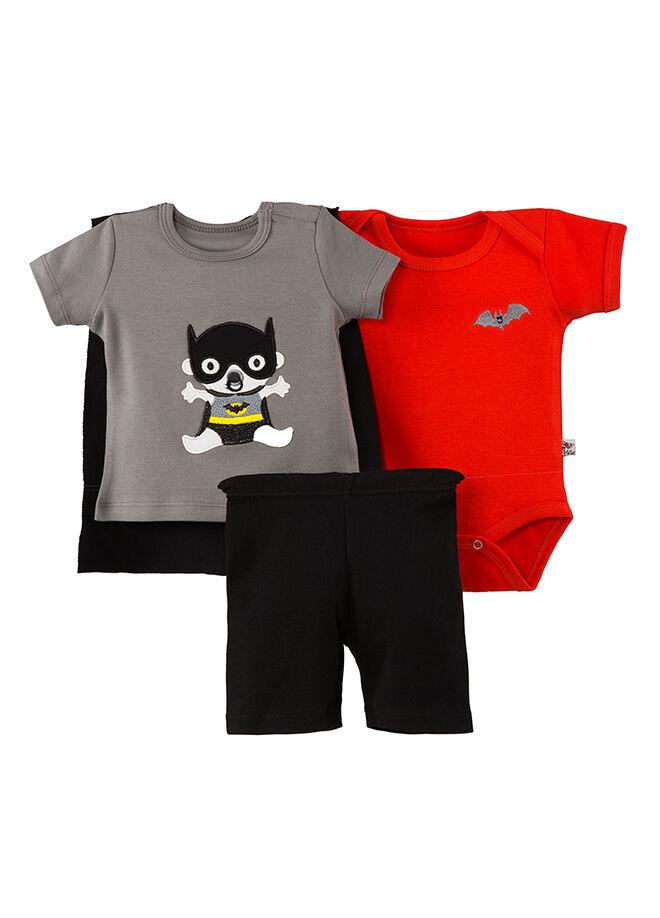 La Petite Body Pelerinlitshirt Şort 3'lü Takım-CTCRAZY-86