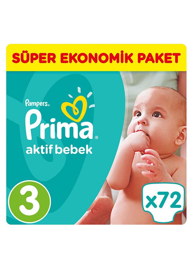 Prima Aktif Bebek 3 Beden Midi Süper Ekonomik Paketi 72 Adet