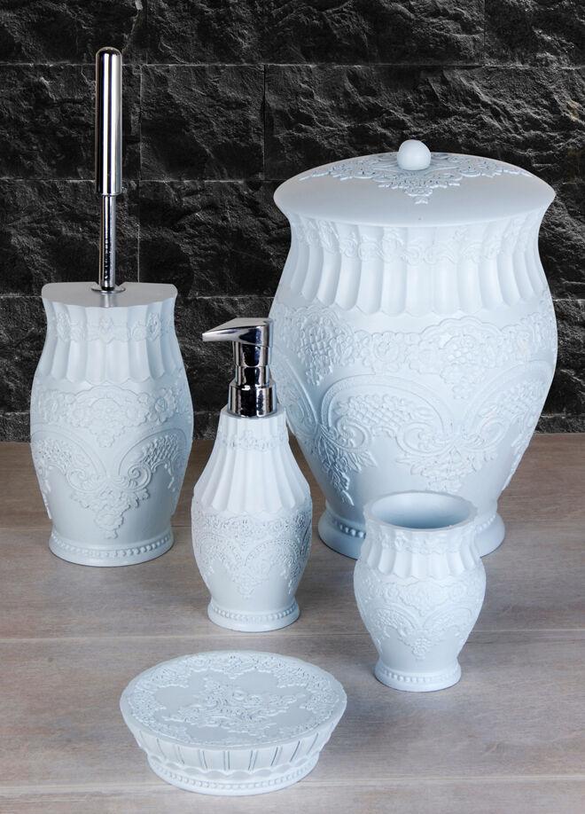 Queen's kitchen Polyester 5 Parça Lüx Çöp Kovalı Banyo Seti - AY-101-Turkuaz