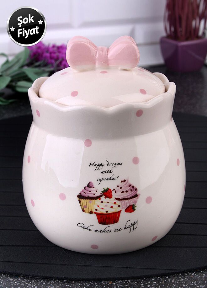 Queen's kitchen Porselen Cupcake Dekorlu Saklama Kabı - C-Cup-0014014/36