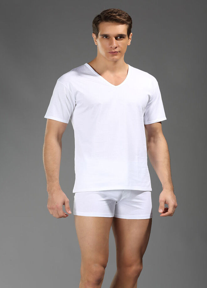 Eros 2'li Yaka V Biyeli T-Shirt Büyük Beden