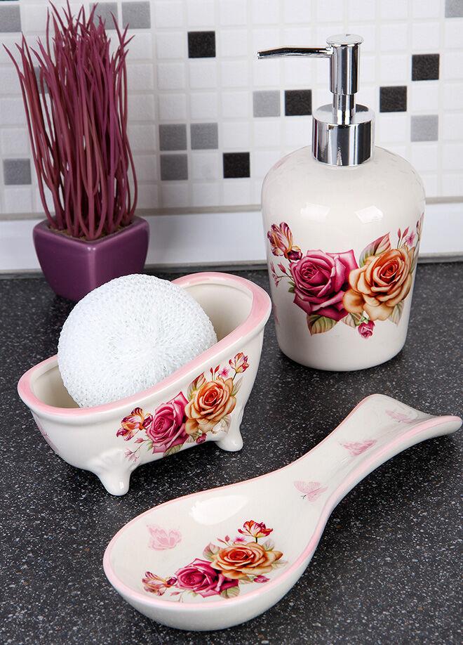 Queen's kitchen Pink Butterfly Serisi Sıvı Sabunluk Süngerlik Ve Yatay Kaşıklıklı Mutfak Set - C-AA8009