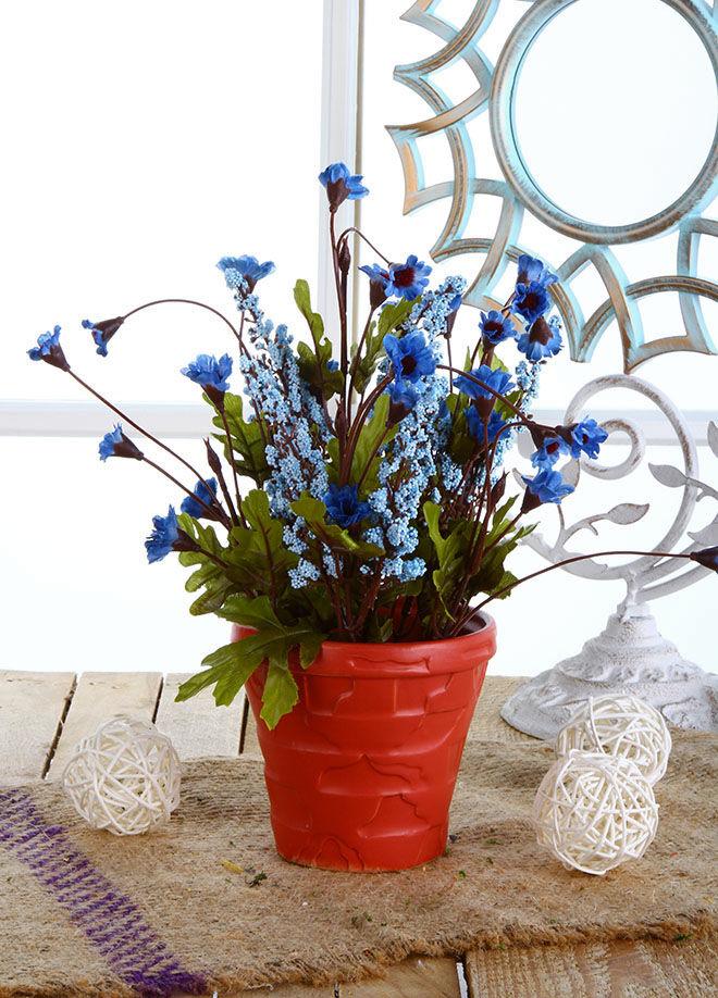 Gold Case Seramik Kırmızı Saksılı Kırçiçeği Mavi