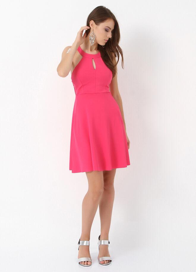 Miss Selen's Arkası Dantelli Önü Damlalı Gloplu Elbise