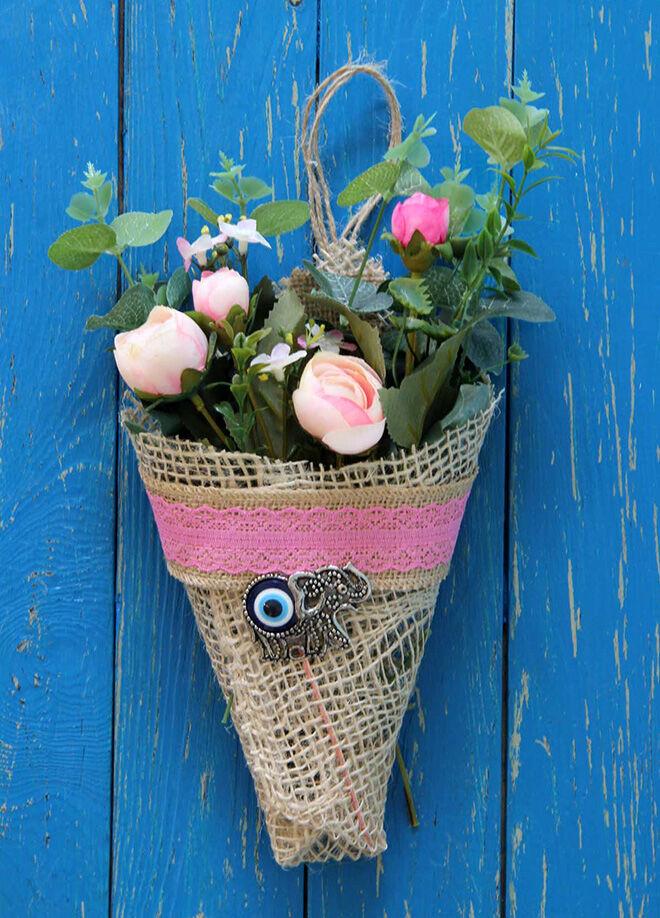 Gift Concept Pembe Güller Bereket Filli Duvar, Kapı Süsü Çiçeklik