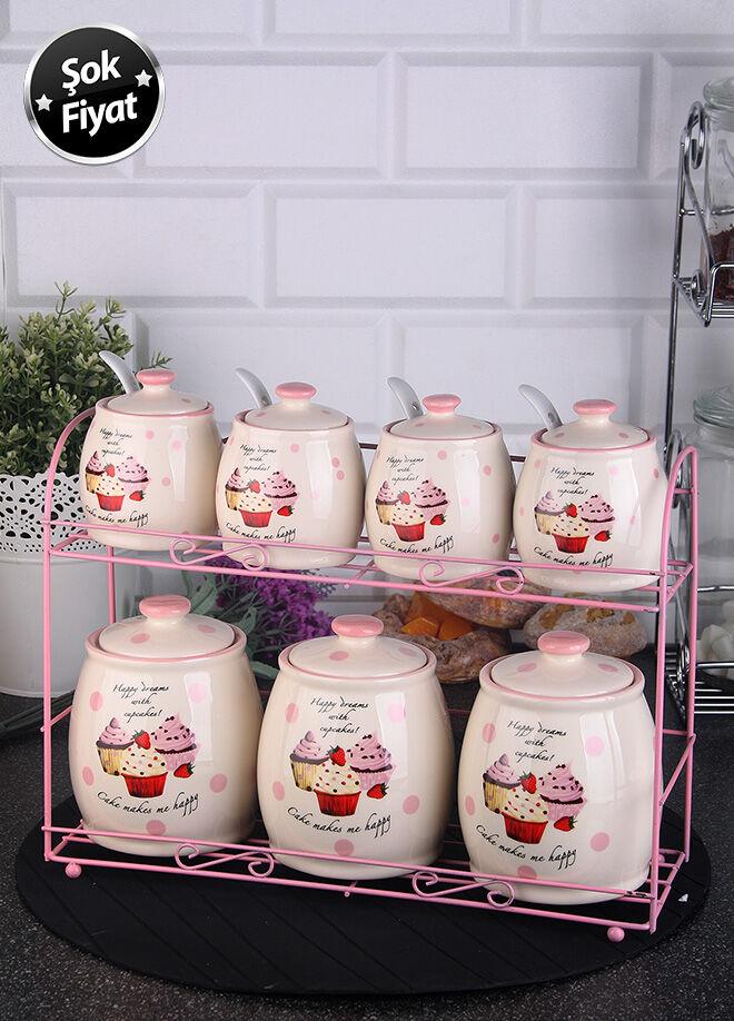 Queen's kitchen Porselen Cupcake Dekorlu Metal Standlı Baharat Takımı - C-Cup-0013268/4