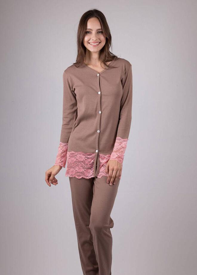 Ay-Yıldız Dantelli Pijama Takım