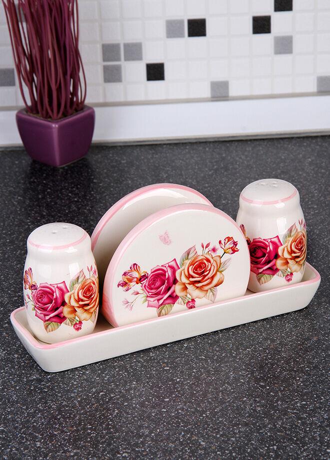 Queen's kitchen Pink Butterfly Serisi Tabaklı Tuzluk Biberlik Peçetelikli Sofra Set - C-AA8007