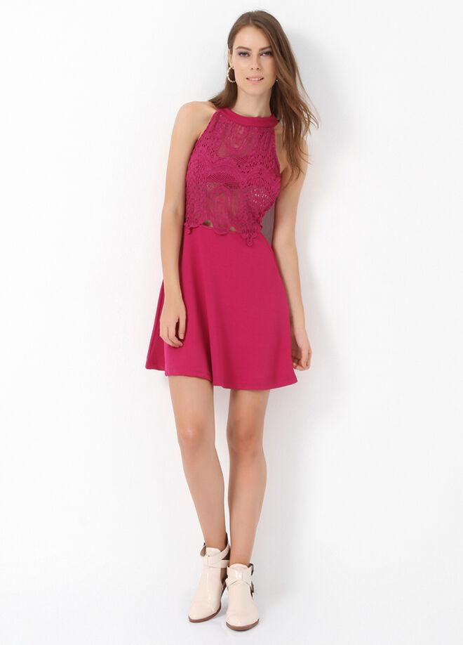 Miss Selen's Önü Dantelli Kloş Elbise