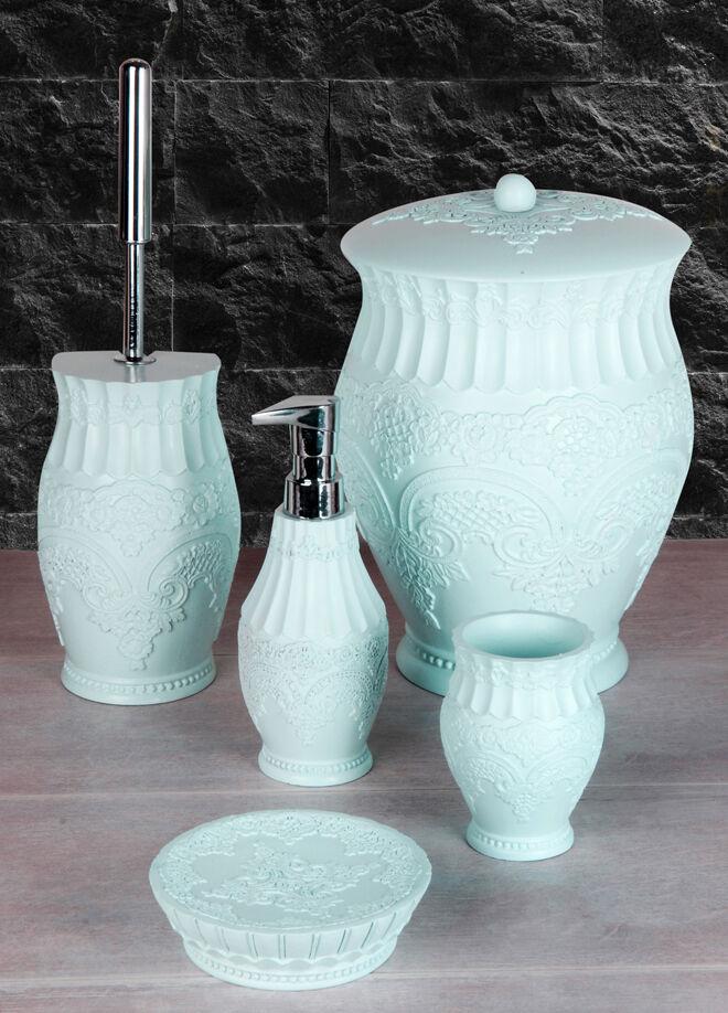Queen's kitchen Polyester 5 Parça Lüx Çöp Kovalı Banyo Seti - AY-101-Mavi
