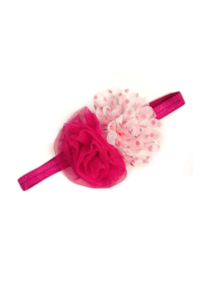 Miyam Saç Bandı Fuşya Fuşya Pembe Puantiye Çiçekli