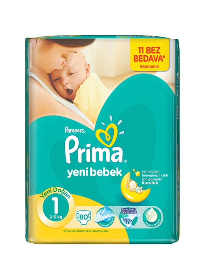 Prima Yeni Bebek 1 Beden Yenidoğan Ekonomik Paket 80 Adet