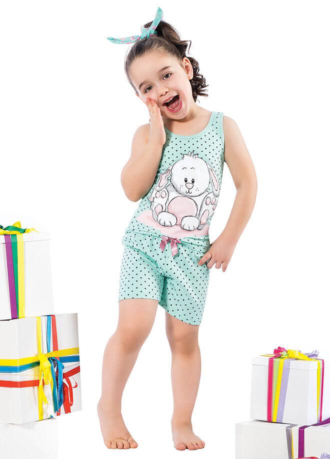 Elitol Premium Kids EK335  Anne-Kız Pamuklu Likralı Şortlu Takım