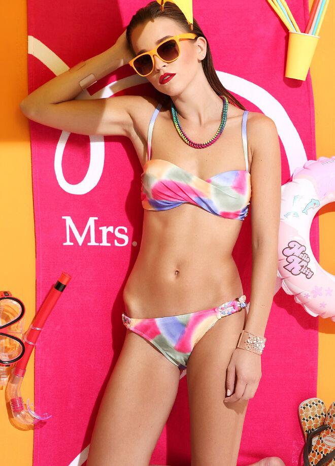Dahliaa Beachwear Cuplı Örgülü Bikini Takım