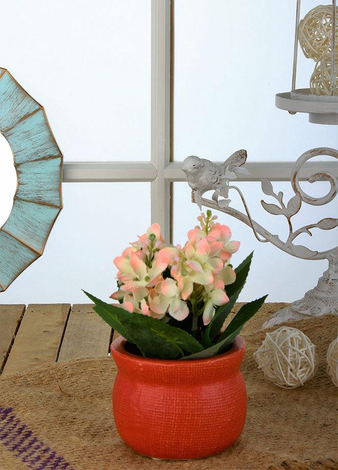 Gold Case Seramik Kırmızı Güveç Saksılı Çiçek Beyaz