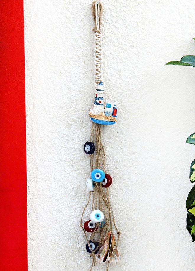 Gift Concept Beyaz Deniz Feneri Nazar Boncuklu Duvar Dekoru