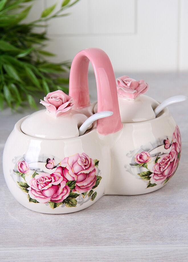 Queen's kitchen Rose Serisi Lüx Kulplu Ve Kaşıklı Baharatlık - C-BB005013/30