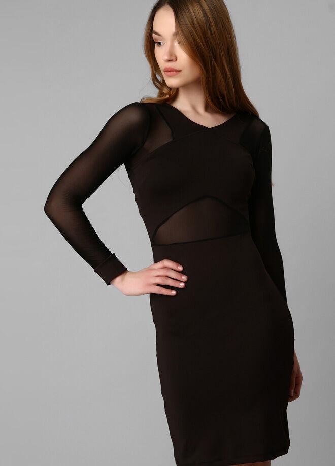 Boutiquen Kolları ve Beli Transparan Elbise