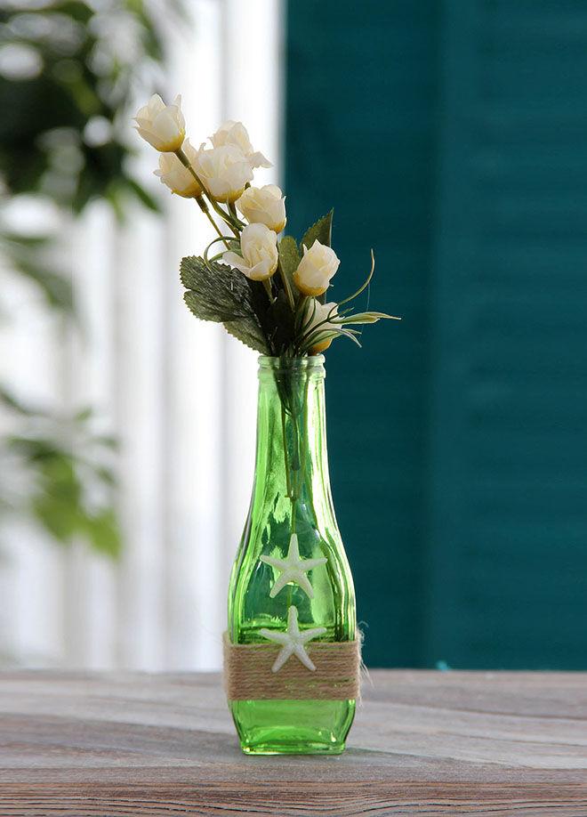 Chiccy Decolife Yeşil Deniz Yıldızlı Beyaz Güller Cam Vazo