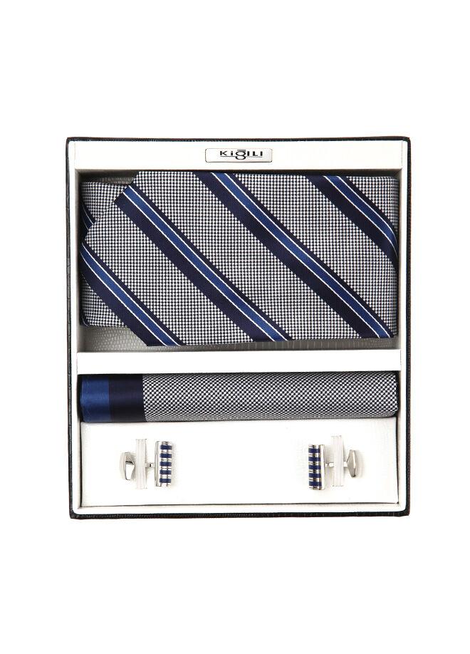 Kiğılı Kravat-Mendil-Kol Düğmesi Set