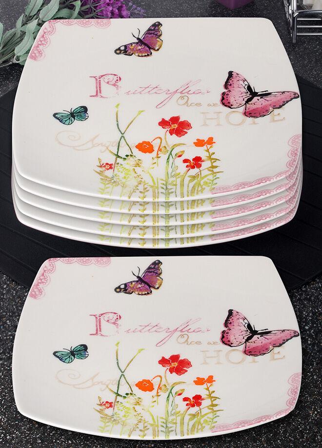 Queen's kitchen Butterfly Serisi 6 Adet Büyük Servis Tabağı